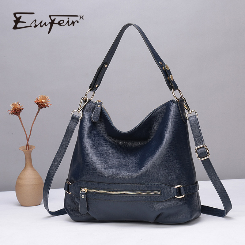 ESUFEIR Genuine Leather Handbag Luxury Handbags Women Bags Designer Fashion Shoulder Bag Large Capacity Hobos Women Tote Bags learning english language via snss and students academic self efficacy