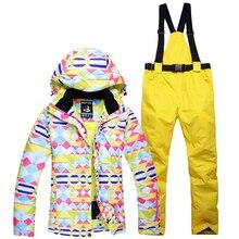 woman Ski suit set Girl snowboarding Clothing Waterproof Warm single Ski jackets winter outdoor costume Snow jackets + pants