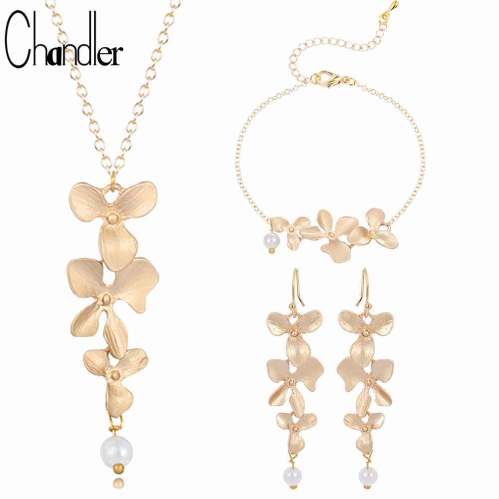Chandler Gold Silver Plated trzy orchidea wisiorek naszyjniki kwitnący kwiat z perłą colliers dla kobiet eleganckie prezenty oświadczenie