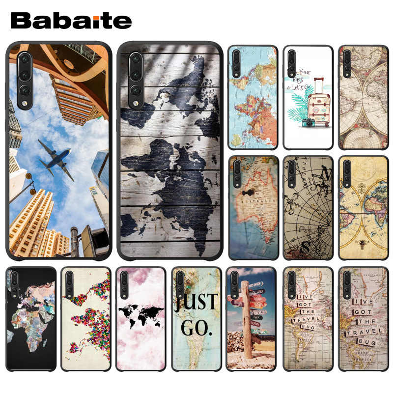 Babaite Travel in the world map plans Black Cell Phone Case For huawei p20 pro p20lite p9lite nova 3i honor 8x mate20 pro coque