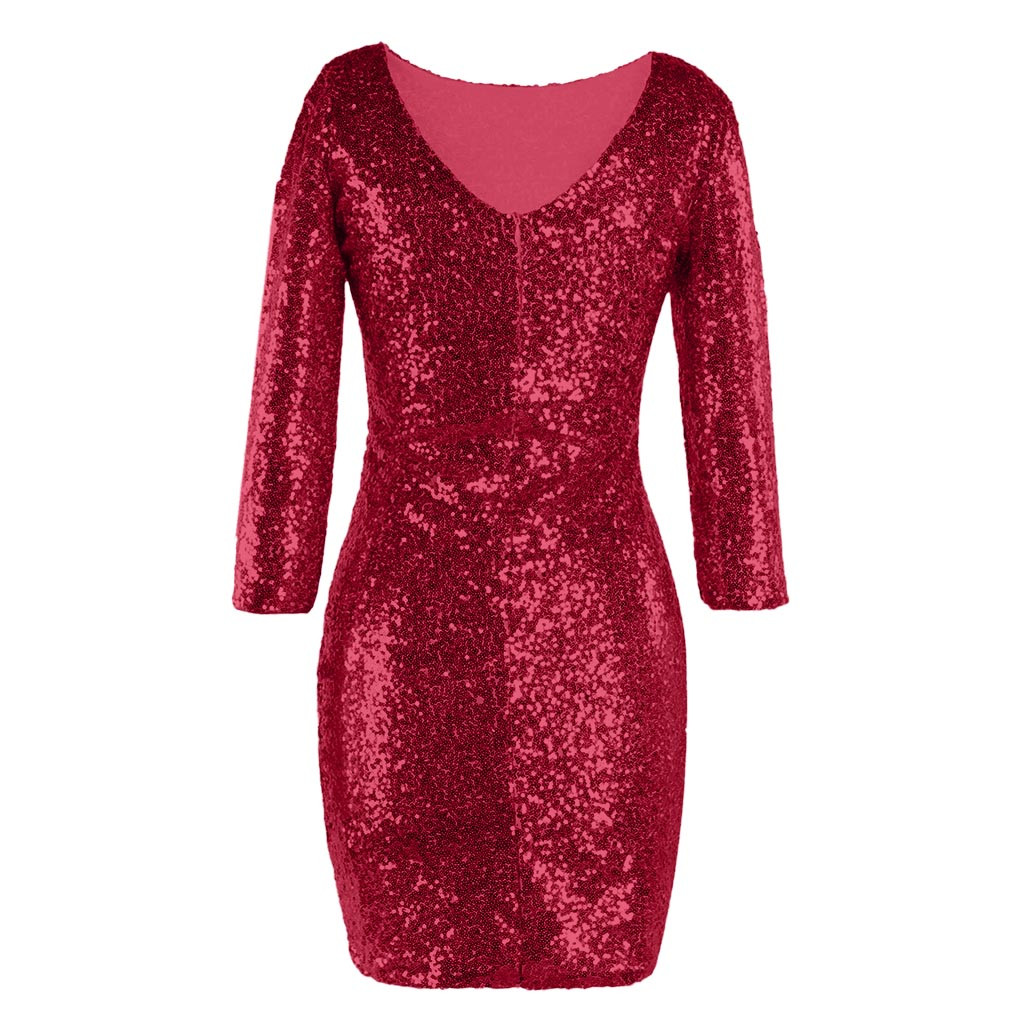 Sparkle Glitzy Glam Female Long Sleeve Flapper Party Club Dress Sequin  Women s Dress Casuale Ladies plus size clothes robe femme-in Dresses from  Women s ... c4be4795eb51
