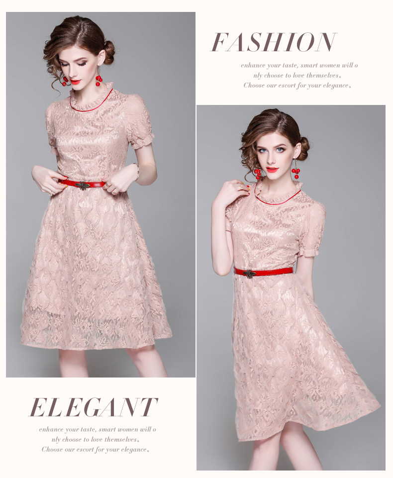 spring summer woman dress knee length pink lace dress red strip ... e3b76c2073db