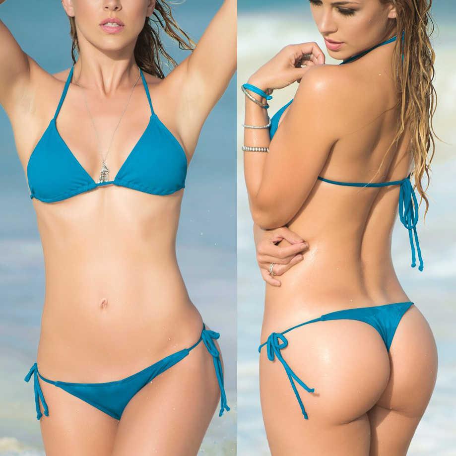 Beach Girl Sex sexy string thong bikinis women's 2017 bikini set swimwear female beach sex may triangle top bra biquine swimsuit bathing suits