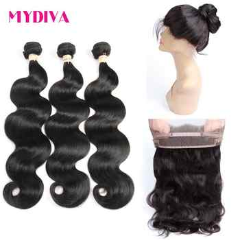 360 Lace Frontal With Bundles Peruvian Body Wave Human Hair 3 Bundles With Frontal Pre Plucked With Baby Hair Non Remy 4 pcs/lot - DISCOUNT ITEM  55% OFF All Category