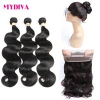 Mydiva Peruvian Body Wave 360 Lace Frontal Pre Plucked With 3 Bundles Human Hair Weave Natural