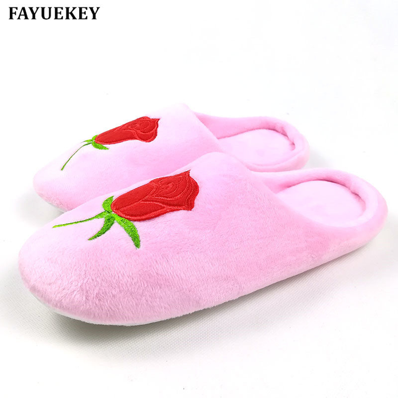 FAYUEKEY New Soft Sole Roses Embroidered Autumn Winter Warm Home Cotton Plush Slippers Women Indoor Floor Flat Shoes Girls Gift vanled 2017 new fashion spring summer autumn 5 colors home plush slippers women indoor floor flat shoes free shipping