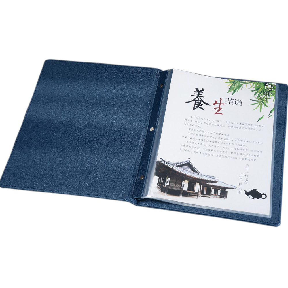 Customised A4 menu folder cover with plastic pockets, Low MOQ customisedPU leather menu cover pu leather menu holder restautant menu covers custom leather folders pvc page with high quality accept customized order