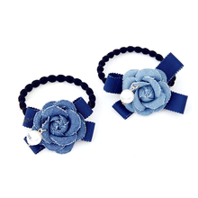 New Flowers Imitation Pearl Elastic Hair Band Denim Blue Camellia For Women Girl Rubber Holiday Gift
