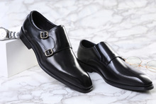 QYFCIOUFU 2019 New Handmade Genuine Leather Formal Shoes Men Luxury Wedding Derby Shoes Square Toe Double Monk Strap Shoes
