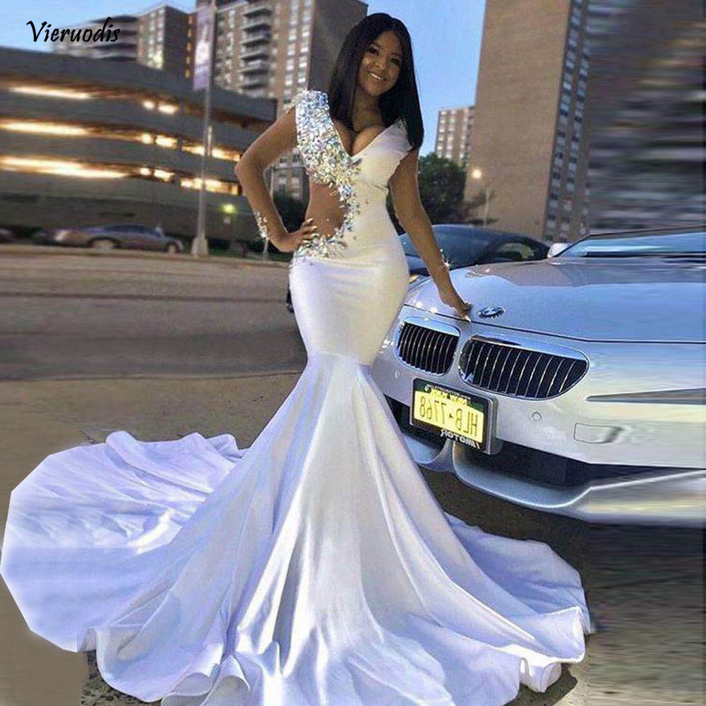 56-1          Long Prom Dresses 2019 Sexy V-neck Crystals New Design Elegant African White Mermaid Prom Dress For Party