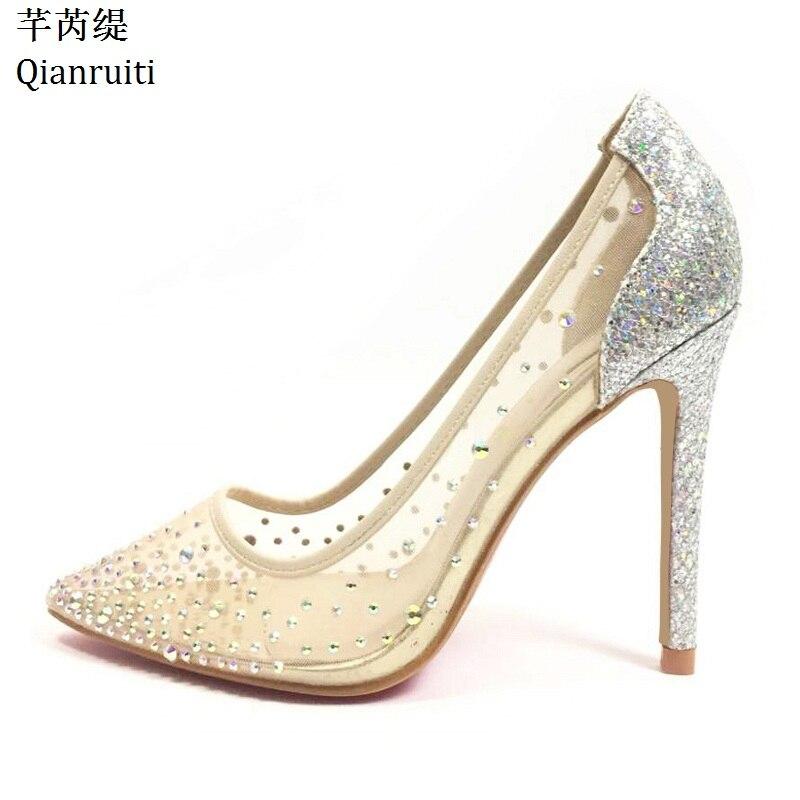 Qianruiti Nude Transparent dentelle talons hauts femmes chaussures simples Bling clouté cristal femmes pompes bout pointu chaussures de mariée de mariage