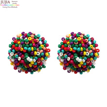 6 colors good quality beads earring 2017 New statement fashion stud Earrings for women