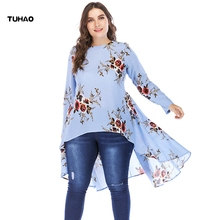 TUHAO 2018 Women Autumn Long Sleeve Women's Blouses Floral Print Long Ruffles Shirts 4XL 5XL Plus Size Female Blouse Tops CM62