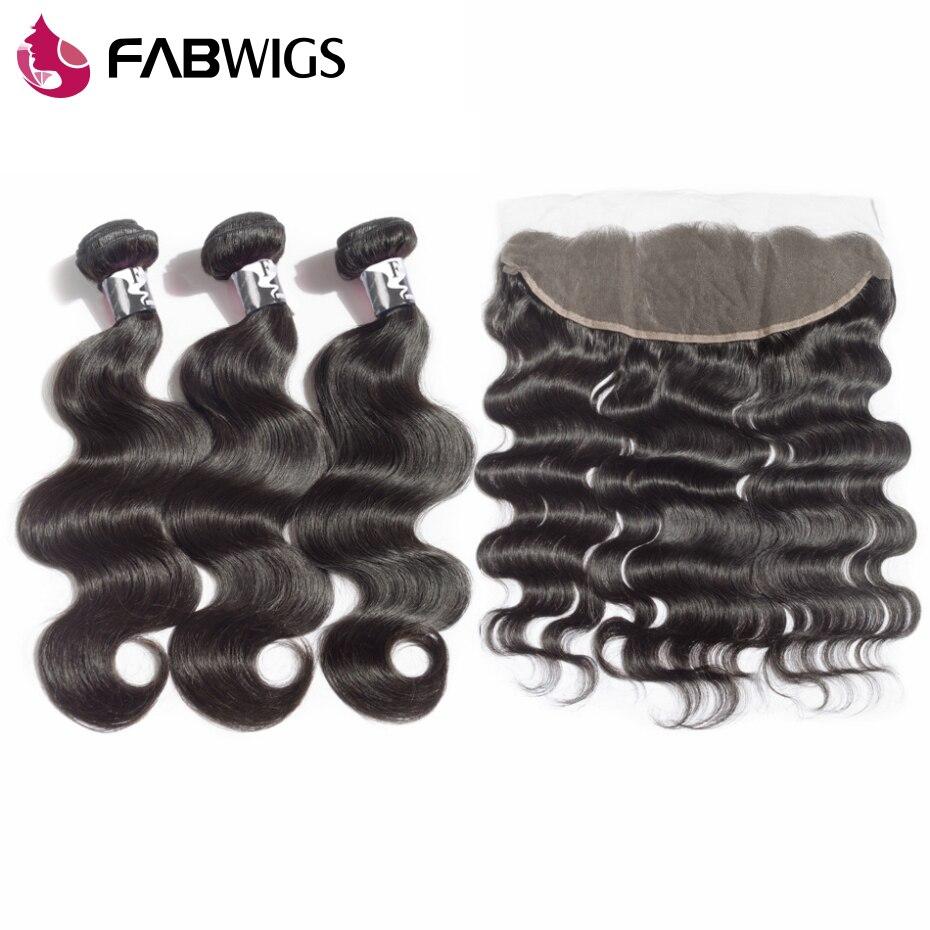 Fabwigs Синтетический Frontal шнурка волос Синтетическое закрытие волос с 3 Связки бразильского Средства ухода за кожей волна Реми Человеческие в...