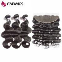 Fabwigs 13x4 кружева фронтальное Закрытие с пучками бразильские волнистые человеческие волосы плетение пучки с фронтальной remy волос