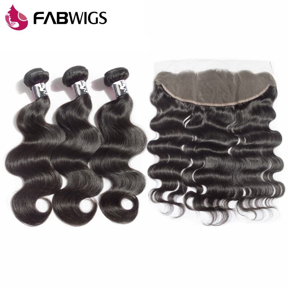 Fabwigs 13x4 Lace Frontal Closure With Bundles Brazilian Body Wave Human Hair Weave Bundles with Frontal Remy Hair