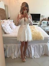 2016 Sexy V-ausschnitt Weiß Elfenbein Spitze Kurze Heimkehr Kleider Mit Langen Ärmeln Perlen Backless Mädchen Prom Cocktail Party Kleider