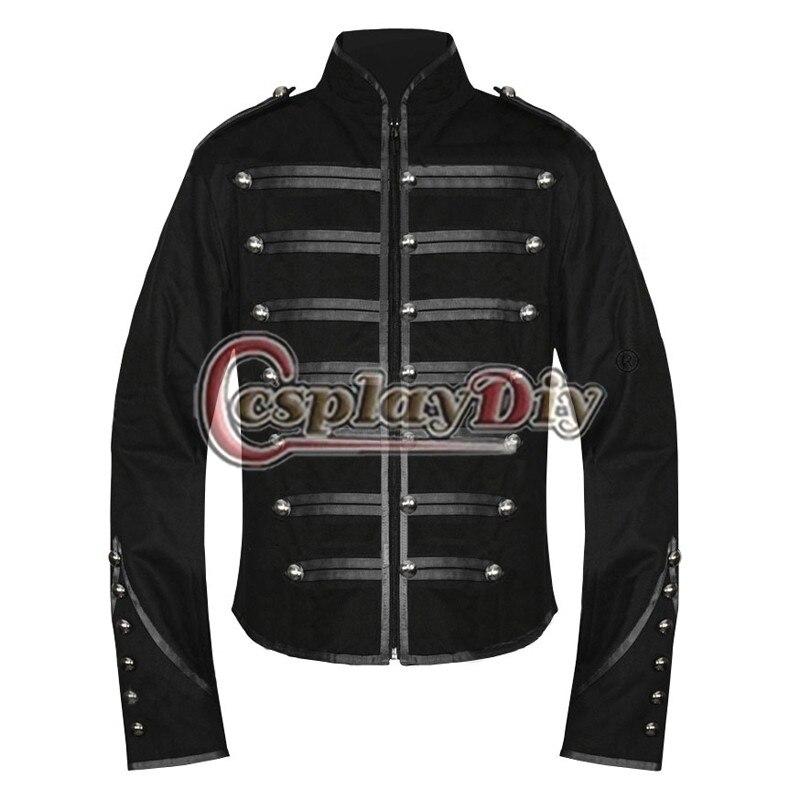 My Chemical Romance Militaire Veste Médiévale Noir Manteau Emo Parade Halloween Cosplay Costume D0912