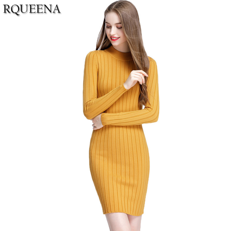 Gele gebreide jurk