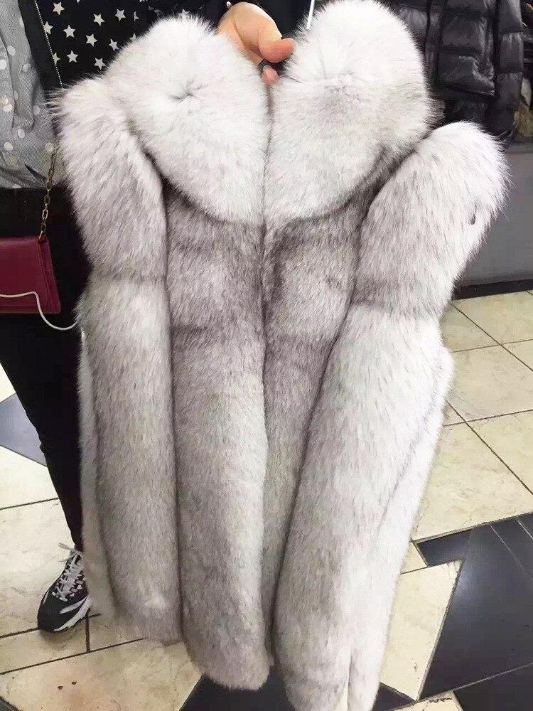 1 Imitation Du 4 Gilet Longue 2 Manteau Version Capuche Fourrure Renard À 3 De Femmes Herbe Nouvelle Coréenne 4Hwd64q