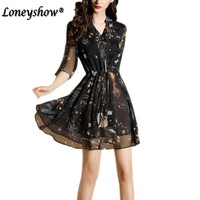 Loneyshow Summer Dress 2017 Elegant V Neck Floral Print Vintage Casual Midi Design Boho Dress Plus