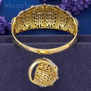 Image 2 - MoonTree Fashion Luxury Super 3 Tone Boom Flowers AAA Cubic Zirconia Women Party Engagement Width Bracelet Bangle And Ring Set
