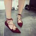 2016 Sexy Fashion Women Shoes Suede Leather Roman Cross Stra Flat Shoes Pointed Toe Women Shoes