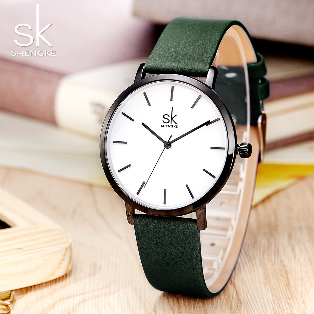 Shengke Change Color Quartz Watch Women Casual Fashion Japan Leather Band Analog Wrist Watch Creative Design Reloj Mujer