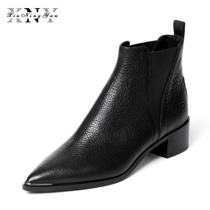 Botas de cuero de mujer XIUNINGYAN botas de invierno de mujer negras Chelsea botas de tobillo deslizantes para mujer marca chussure Bottes Mujer
