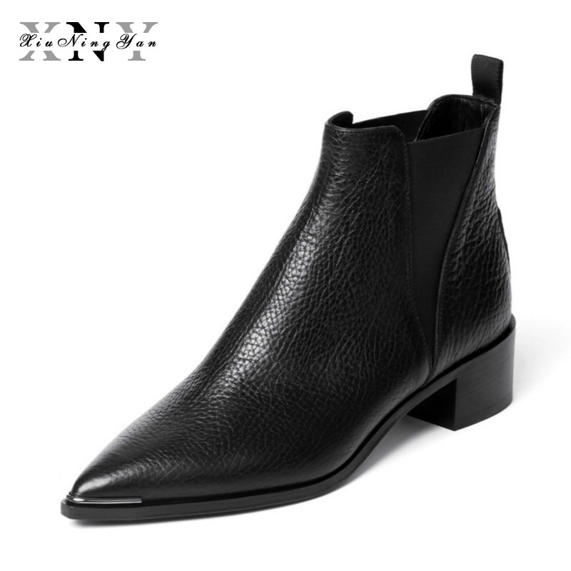 XIUNINGYAN Womens Leather Boots Black Womens Winter Chelsea Boots Slip on Ankle Boots for Women Brand Chaussure Bottes Femme