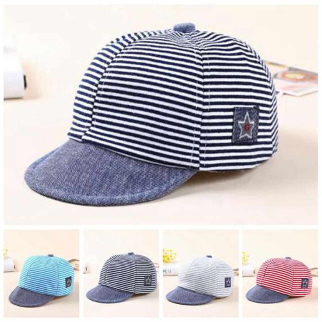 Hat Toddler Baby Girl Boy Cute Fashion Letter Soft Comfortable Eaves Casual Baseball Cap Sun Beret Hat Striped casquette enfant
