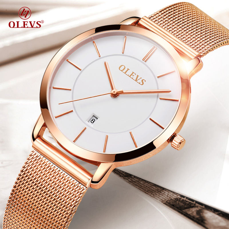 OLEVS Women's watches Ladies Japan quartz-watch Stainless steel Mesh strap Rose Gold Reloje mujer 2017 NEW female Wrist watches