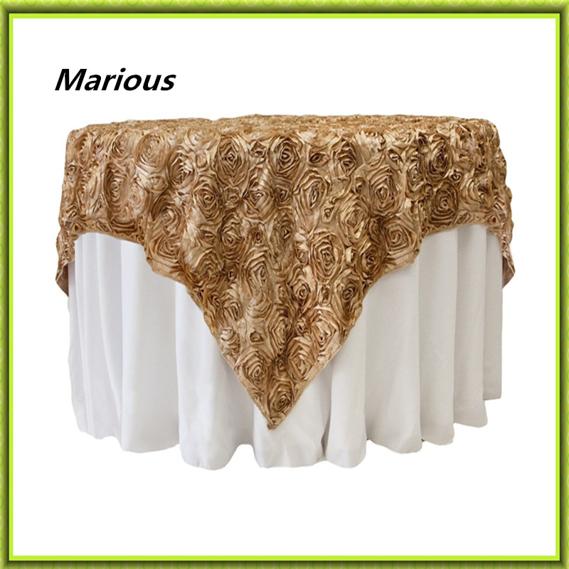 rosette table cloth 5pcs embroider table cover for wedding,hotel party and restaurant round tables decoration many colors