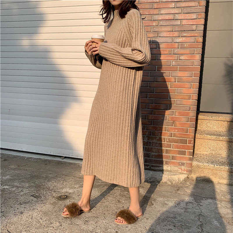 Over The Knee Sweater Dress 2018 Autumn Winter New Loose Large Size 4XL Solid Color Women's Half Turtleneck Knit Dress LQ589