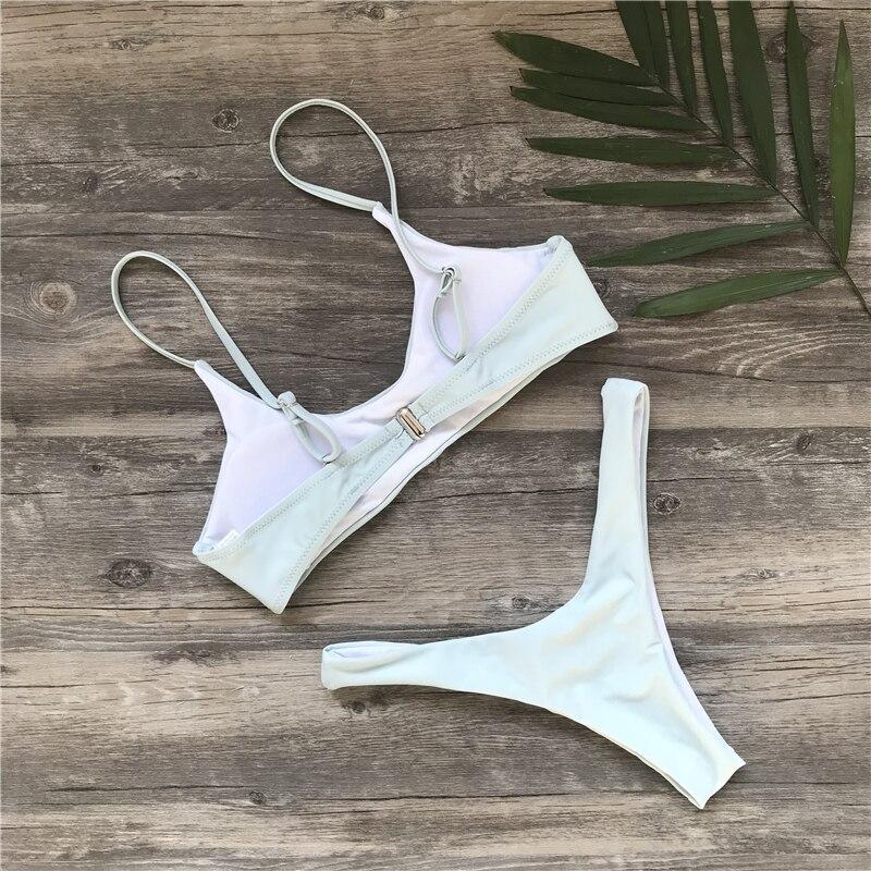 Ariel Sarah Brand 2018 Push Up Bikini Swimwear Women Swimsuit Solid White Bikins Set  Biquini Bathing Suit Women Bikinis Women 4