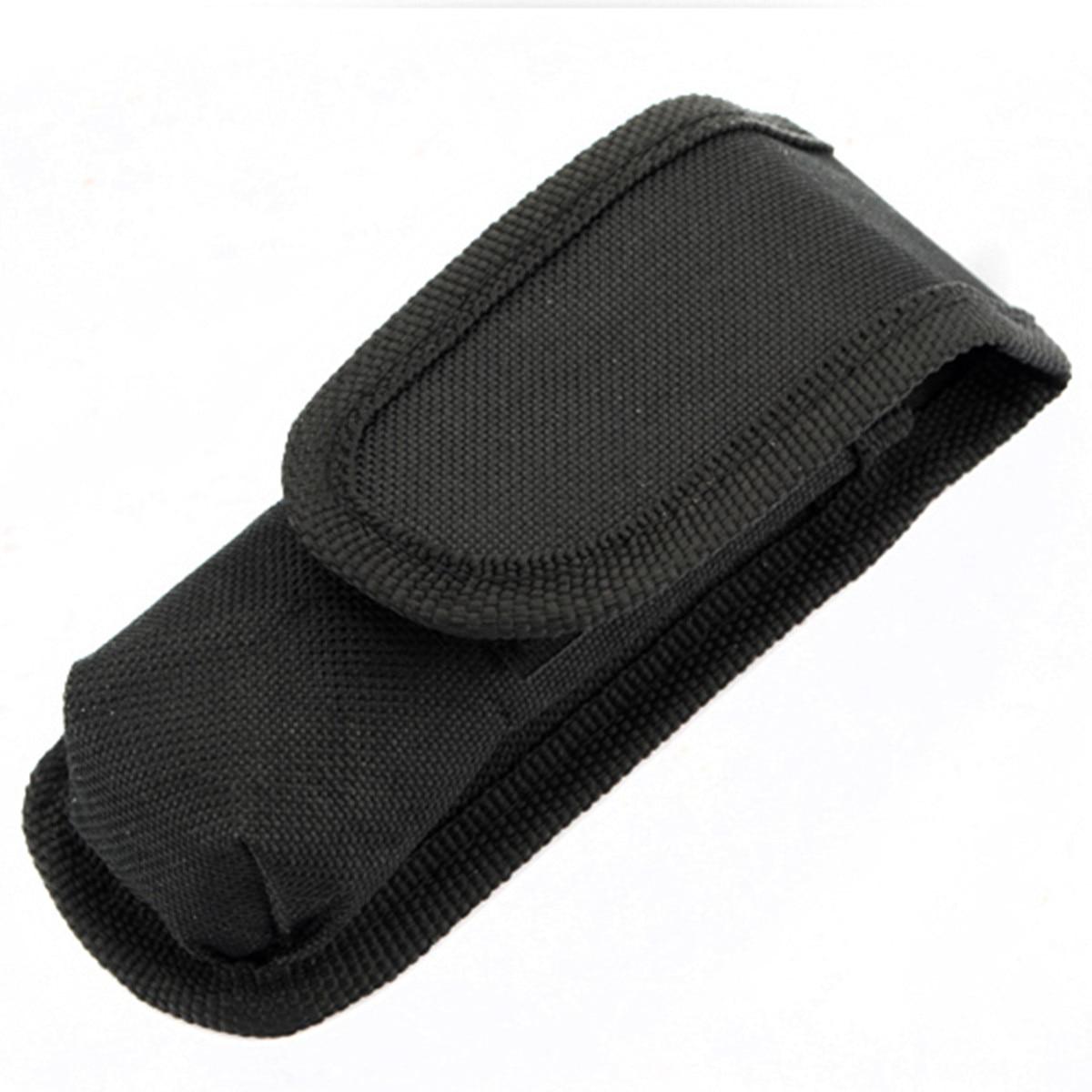 High quality Black Nylon magic sticker Flashlight Holster Pouch Torch Cover Case Belt Bag Folded size 12.5X4.7X3.5cm