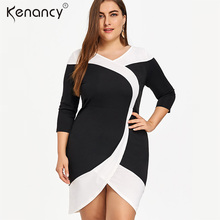 Kenancy 5XL Plus Size Sexy V-neck Two Tone Tight Tulip Patchwork Office  Dress Women Knee-3 4 Length Sleeve Vestidos Elegant b729cab82177