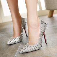 F.N.JACK Pointed Toe Shoes Sexy High Heels Wedding Shoes Women Pumps Rivets Spikes Patent Leather High Heel Shoes