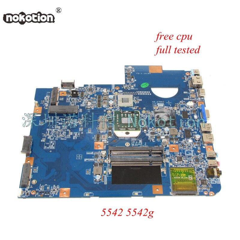 NOKOTION 48.4FN01.0SB laptop motherboard for acer Asipre 5542 HD4500 DDR2 Main board works nokotion laptop motherboard for acer aspire 5542 main board mbpha01001 48 4fn01 011 216 0752001 ddr2 free cpu