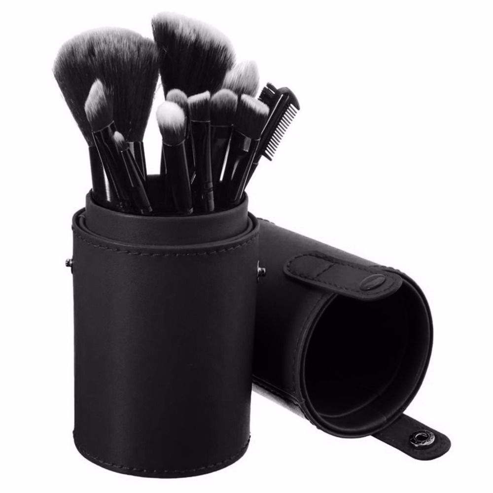 New Arrival Brush Holder Retro Unisex Vintage Rolling Up Leather Brush Pen Bag Brush Pencil Case Pouch Makeup Empty Makeup Box