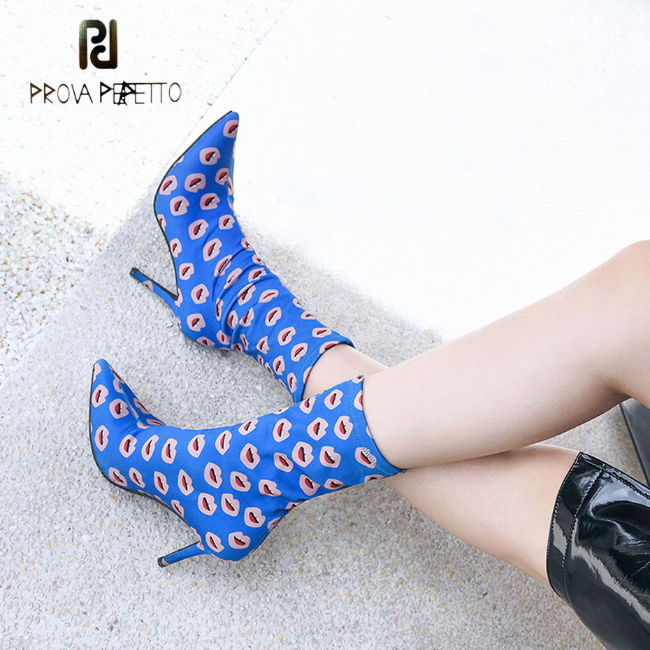 Prova Perfetto superstar short boots pointed toe stiletto heels elastic boots kiss mouth print stretch fabric fashion ankle boot цена 2017