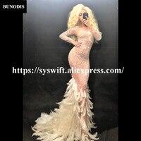 BU236 Women Net Yarn Long Skirt Sparkling Crystals White Feather Tail Fashion Show Nightclub Party Birthday Bling Clothing
