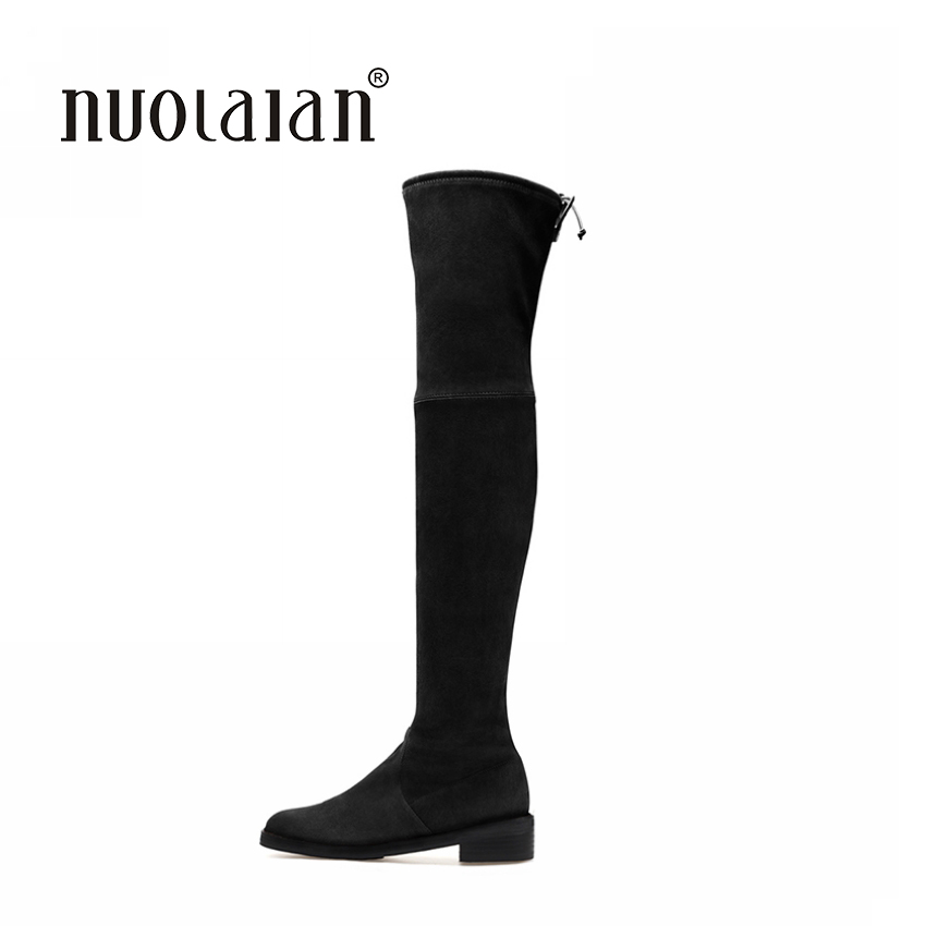 Women Over The Knee Boots Suede Thigh High Boots 2018 Autumn Winter Ladies Fashion Fur Warm Chunky Heel Boots Snow Shoes Woman bonjomarisa women riding style motorcycle boots chunky heel platform shoes woman winter add fur knee high snow boots