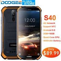DOOGEE S40 IP68 IP69K мобильного телефона 5,5 дюйма Дисплей 4650 mAh MT6739 4 ядра 2 Гб Оперативная память 16 Гб Встроенная память Android 9,1 8.0MP Камера сети 4G