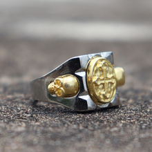 Vintage Mexican Style Men Golden Cross and Skull Biker Rings Punk Jewelry