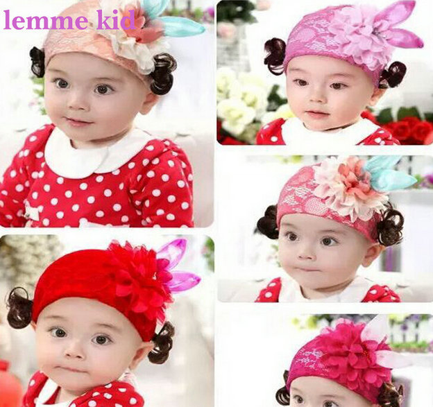 Fancy baby girl hat toddler infant lace hat chiffon flower and wig hat -in  Hats   Caps from Mother   Kids on Aliexpress.com  e153327ba7b