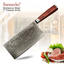 SUNNECKO 7 inch Cleaver Knife Damascus Kitchen Chef Knives Japanese VG10 Steel Core Sharp Blade Pakka Wood Handle Cutting Tools