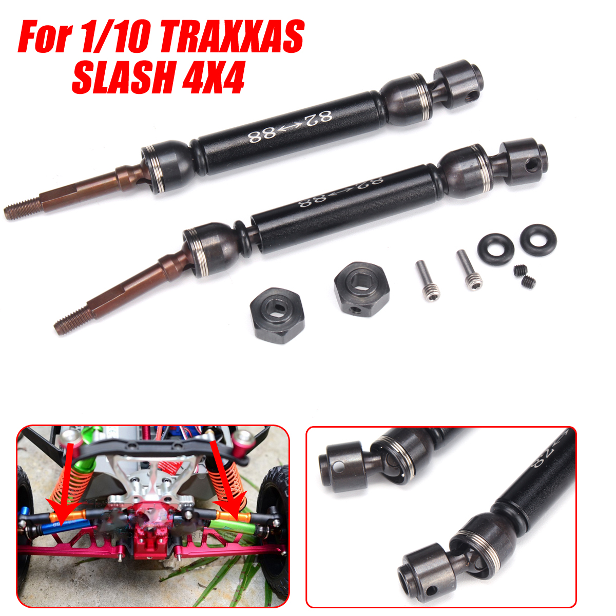 2Pcs RC Car CVD Rear Drive Shaft for Traxxas 1/10 Slash 4x4 Remote Control Car Aluminum Alloy Upgrade Part steel drive shaft joint cvd 110 155mm