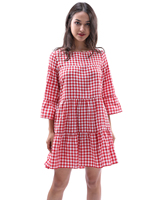 Women Oversized Pleated Plaid Dress Summer Elegant Checkered Flare Sleeve Loose Casual Sweet Dresses