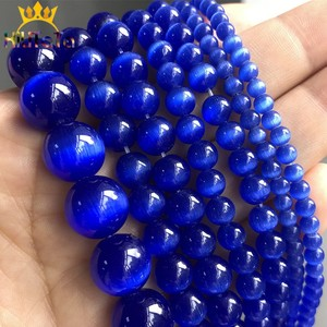 4-12mm AAA Dark Blue Cat Eye Beads Hight Quality Smooth Round Loose Beads For Jewelry Making Opal Stone DIY Charm Bracelets 15